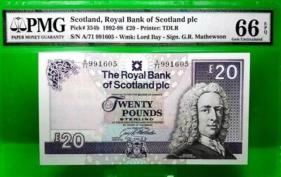 MONEY SCOTLAND 20 POUND 1992 - 98 ROYAL BANK OF SCOTLAND PMG GEM UNC PICK # 354b