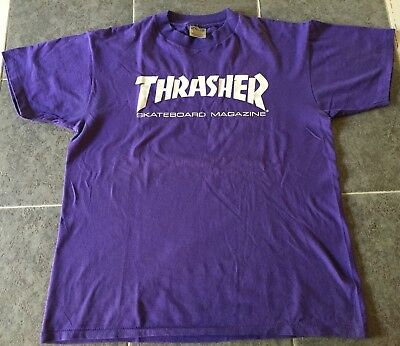 Vintage THRASHER t shirt / early-mid 90s / size Large / purple