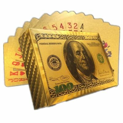 Gold Foil Playing Cards High Quality Gold cards $100 Benjamin Franklin Bill USA