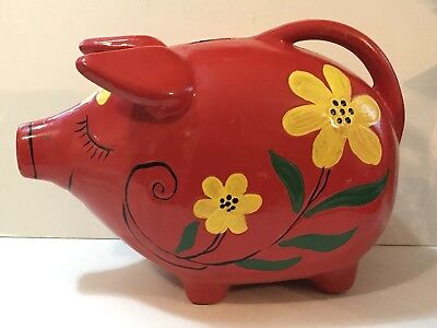 CUTE! Antique Ceramic Piggy Smiling Pig Bank Red Painted Flowers W/ Handle