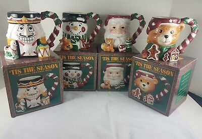 Tis the Season Holiday Ceramic Mug SET of 4 18 oz Santa Nutcracker Bear Snowman