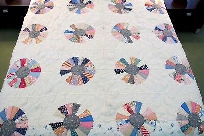 Vintage Antique Feed Sack Hand Sewn BUGGY WHEEL QUILT, Nice Prints; Needs TLC