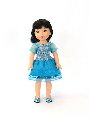 "Blue Sparkly Dress Fits Wellie Wishers 14.5"" American Girl Clothes"