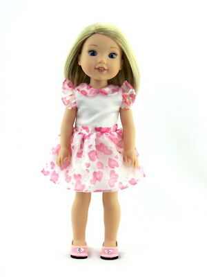 """Pink Heart Organza Dress Fits Wellie Wishers 14.5"""" American Girl Clothes"""