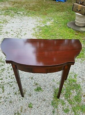 Mahogany  Half Round Flip Top Game Table Dining Table Vintage Antique