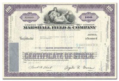 Marshall Field & Company Stock Certificate (Famous Chicago Retailer)