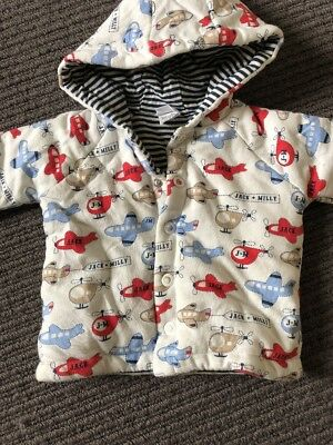 Jack And Jill Warm Jacket Coat Size 0 (6-9 Months) Striped And Aeroplanes ✈️