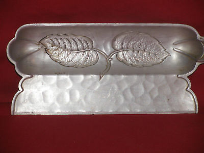 Vintage Crumb Catcher-Butlers Ashtray-Hammered Leaves-Aluminum-Pewter-Kitchen