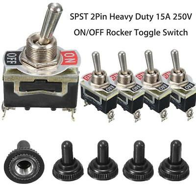 5pcs SPST 2Pin Car Boat 15A 250V ON/OFF Rocker Toggle Switch+Waterproof Boot~,