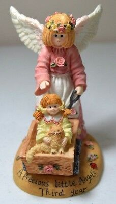 Angel Girl with Cat Figurine Child's Third Year Linda Grayson Collection 1996
