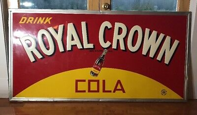 Royal Crown Cola Vintage Original Large Embossed Metal Sign RARE MINT CONDITION