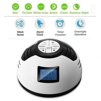 Deep Sleep Machine Baby Therapy Solution 6 Nature Sounds Relax Alarm Timer Clock