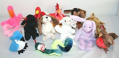 Lot 12 Ty Beanie Baby Babies Retired 1995-1998 Hang Tush Tag Plush Pinky Strut