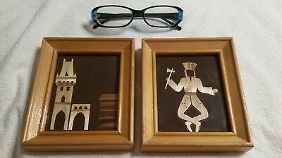 2 pictures made of wood pieces, very unusual!