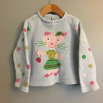 Mini Boden cable knit sweater Cat Polka Dot gray 3-4T