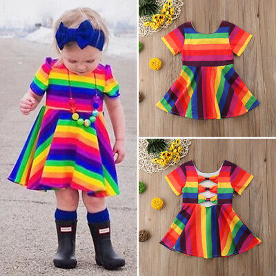 AU Toddler Kid Baby Girl Rainbow Short Sleeve Princess Party Dress Sundress 1-6Y
