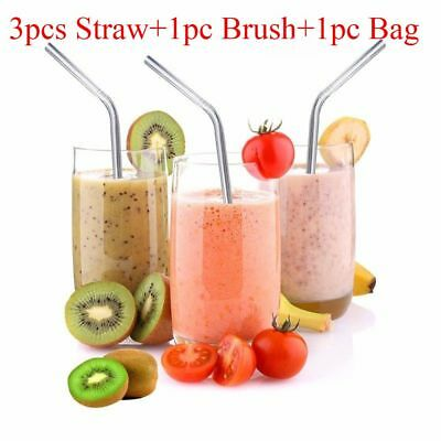 4Pcs Kitchen Tool Bar Accesories Stainless Steel Cleaner Brush Drinking Straws
