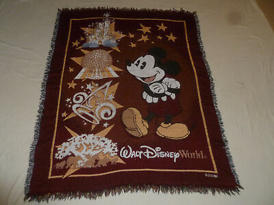 Walt Disney World Blanket Throw Mickey Mouse Afghan Magic Kingdom Epcot Parks >>