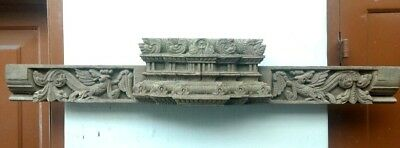 Ancient Antique Hand Carved Wall Hanging Wooden Panel Door Beam Decor Estate Old