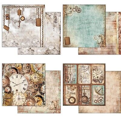 """Stamperia Clockwise 1x Double-Sided Cardstock 12x12"""" 1x Scrappapier 30,5x30,5 cm"""