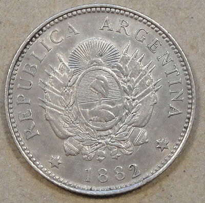 Argentina 1882 20 Centavos Lightly Circulated Coin with Luster