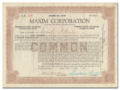 Maxim Corporation Stock Certificate (Machine Guns, Munitions, 1919)