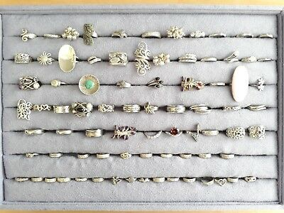 Job lot of 90 silver/stone-set rings inc spinners and toe rings (not scrap)