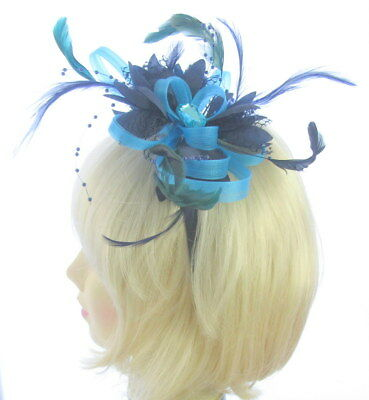 Blue and Navy  looped fascinator headband, Weddings,Ladies Day Ascot Races
