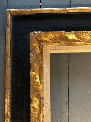 Antique Black & Gold Carved  Large Picture Frame  Mid Century 16 X 20