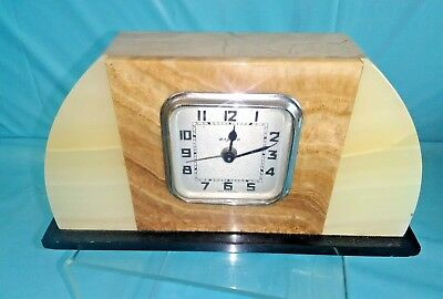 Rare French Vintage Art Deco Marble Alarm Clock. Movement by Bayard.