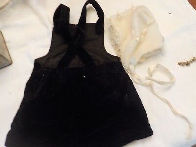 Small Childs Black Shorts With Straps And  White Hat