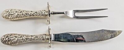 ROSE by Stieff Sterling Silver handles TWO PIECE CARVING SET