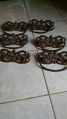 6 matching antique brass drawer pull handles