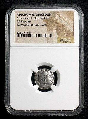 Silver Drachm of Alexander III the Great, 336-323 BC NGC Certified   3014