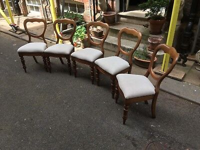 Five Victorian mahogany framed balloon back dining chairs