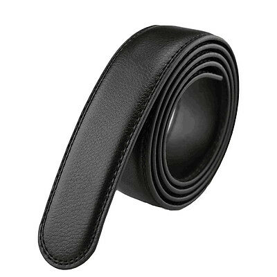 Men's Black Leather Automatic Ribbon Waistband Strap Belts Without Buckle