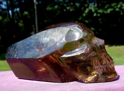 Large Smoky Quartz Crystal Skull Carving w Rainbows