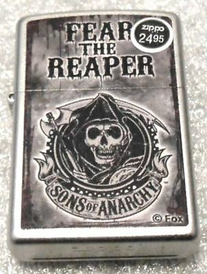 Sons Of Anarchy   Reaper  Fox  Zippo Lighter   Satin Chrome - New In Box