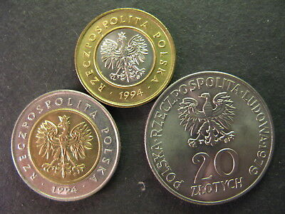 Poland, 2 & 5 Zlote Bi-Metal Coins And A 20 Zlotych Coins, All Bu, Nice Lot,