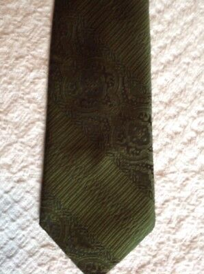 """Vintage Haband Tie Woven In Como Italy Polyester Green 57"""" X 3 1/2"""""""