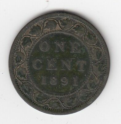 1891 Canada Large cent - Large Date - Large Leaves