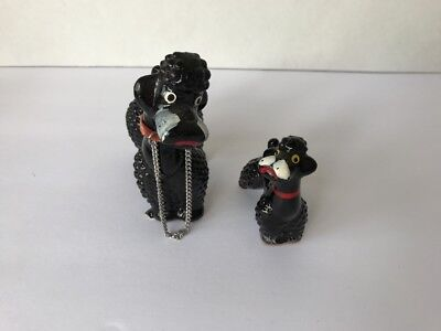 2 White Poodle Dogs Mom Pups Spaghetti Porcelain Vintage Japan Figurines Lefton?