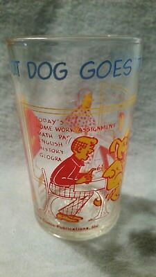 """Vtg Welch's Jelly Glass Archie Comic's """"Hot Dog Goes To School"""" 1971 Veronica"""