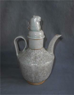 Antique China TOP HIGH AGED SONG QINGBAI EWER WITH LID AND ANIMAL FIGURE