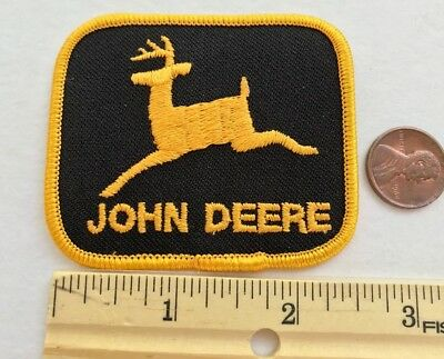 """VINTAGE*JOHN DEERE PATCH* BLACK & GOLD*Embroidered Iron-On Patch*2.5""""x2.25"""""""
