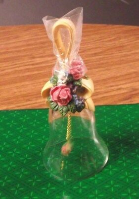 Avon clear glass bell with Roses theme