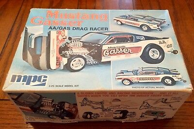 Mpc Ford Fastback Mustang Gasser Aa/gs 427 Sohc 1/25 Plastic Model Car Kit ©1974