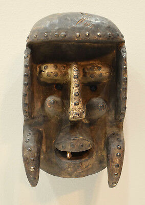 Mask Africa Bete Wood Brass Cote d'Ivorie Mask 12.5""
