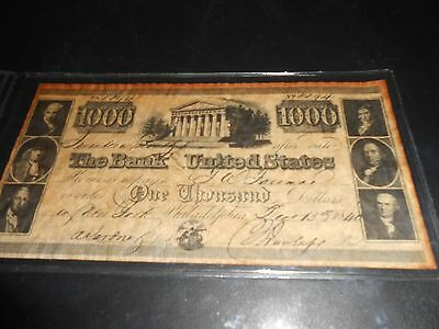 1840 $1000 BANK NOTE (BANK of THE UNITED STATES) #8894 PHILADELPHIA ISSUE.