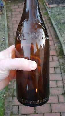 Pre Prohibition Pittsburgh Brewing Co Bottle - 1 Pint 11oz - Amber with stopper